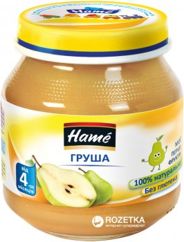 Упаковка фруктового пюре Hame Яблуко та груша з 4 місяців 125 г х 10 шт. (8595139717117)