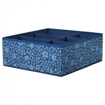 Коробка з відсіками IKEA STORSTABBE 37x40x15 см синя 404.243.42