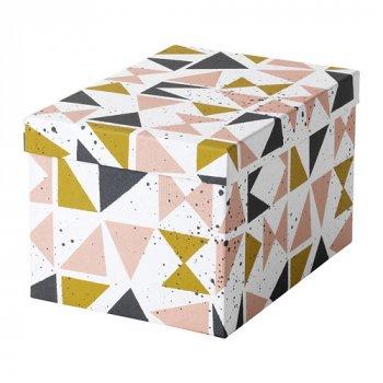 Контейнер с крышкой IKEA TJENA 18x25x15 см белый черный розовый 703.982.14