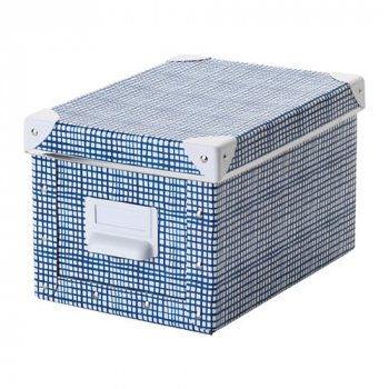 Контейнер для зберігання IKEA FJÄLLA 18x26x15 см білий синій 504.325.44