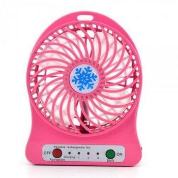 Вентилятор акумуляторний ліхтар настільний міні-вентилятор портативний Portable Fan 01 Pink