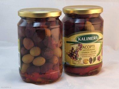 Kalimera Асорті натуральних оливок та перчиків у маринаді , 720 мл
