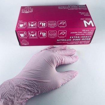 Перчатки медицинские нитриловые смотровые VitLux розовые (уп 100шт 50пар) размер М (10583)
