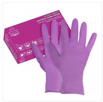 Перчатки медицинские нитриловые смотровые VitLux розовые (уп 100шт 50пар) размер XL (10586)