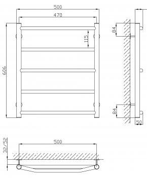 Полотенцесушитель KOSSER Лесенка Микс стандарт 600х500/5 ЕL рег
