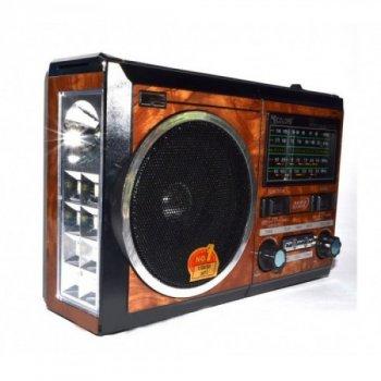 Портативний радіо приймач GOLON RX-277LSD USB FM Коричневий з сонячною панеллю