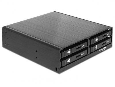 Корпус накопичувача Delock SATA 22p (кишеня) внутр. 5.25 для 4x2.5 HDD 1x4 чорний(70.04.7220)