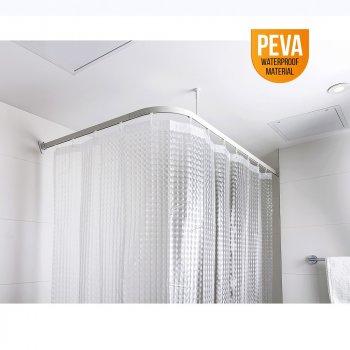 Штора для ванної кімнати КРИШТАЛЕВА 3D (180х180), матеріал PEVA з кільцями 12 шт