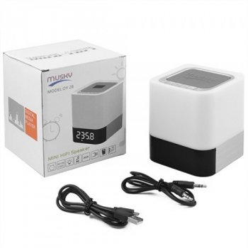 Bluetooth-колонка DY28, c функцією PowerBank, світильник (сенсорний), годинник, будильник