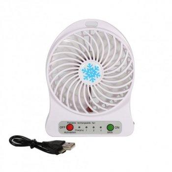 Міні-вентилятор Portable Fan Mini настільний 3 швидкості Білий