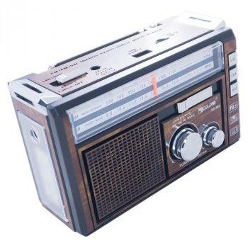 Радіоприймач акумуляторний GOLON RX-382BT Коричневий з Bluetooth і ліхтариком