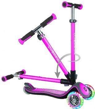 Самокат Globber Elite Deluxe 3 колеса с подсветкой до 50 кг 3+ Розовый (444-410) (4897070184794)