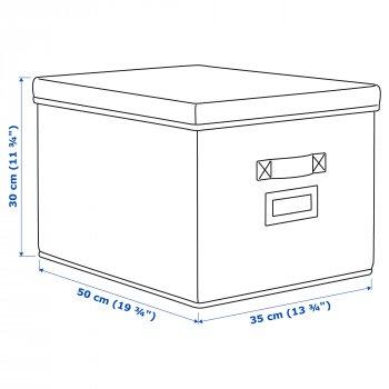 Коробка IKEA STORSTABBE 35x50x30 см с крышкой синяя 203.954.06