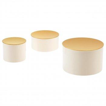 Набор декоративных коробок IKEA GLITTRIG 3 шт цвет слоновой кости 303.941.28