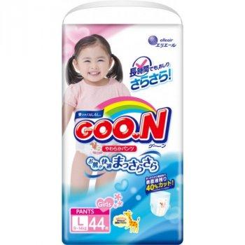 Трусики-підгузки GOO.N для дівчаток 9-14 кг (розмір L, 132 шт)