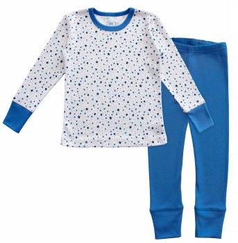 Пижама (футболка с длинными рукавами + штаны) Фламинго 257-1007 Белый/Синий