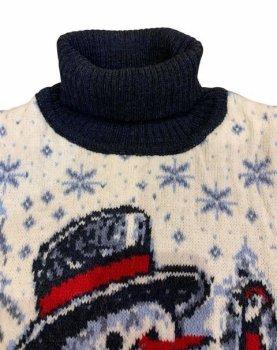 В'язаний светр Pulltonic Сніговик молочний із синім 561