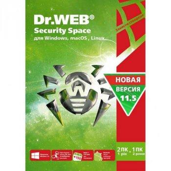 Антивірус Dr. Web Security Space, 2 ПК 1 рік карт. конверт (KHW-B-12M-2-A3)