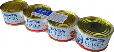 Упаковка кильки Аквамарин неразобранной обжаренной в томатном соусе 230 г х 4 шт (4820183773661)