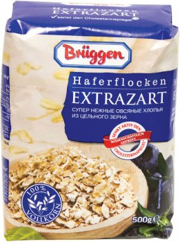 Упаковка вівсяних пластівців Bruggen Haferflocken Extrazarte з цільного зерна 500 г х 20 шт. (4008713764307)
