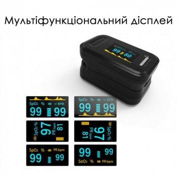 Пульсоксиметр на палец FU-YK81C (черный) для измерения пульса и уровня кислорода в крови