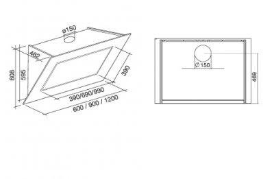 Витяжка кухонна Falmec - QUASAR 120 CM VETRO NERO 800 M3