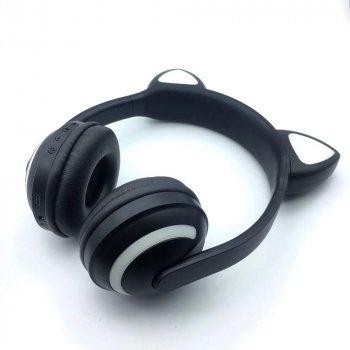 Бездротові Bluetooth-навушники j-hel з котячими вушками, LED підсвітка 7 кольорів ZW-19 Black (JZW19Black)