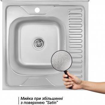 Кухонна мийка LIDZ 6060-L Satin 0.8 мм (LIDZ6060LRSAT8)