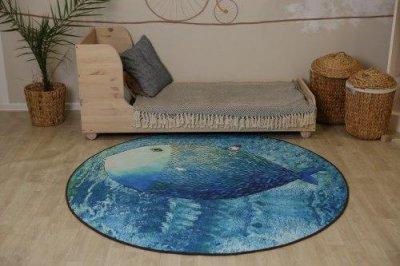 Круглий килим Комільфо мікрофібра Риба 160х160 блакитний SC2347