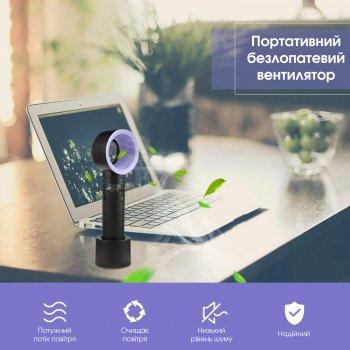 Портативный безлопастный вентилятор ZERQ 9 USB Карманный ручной настольный с подставкой Черный/Фиолетовый