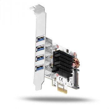 Контролер Axagon AXAGON PCIe Adapter 4x USB3.0 UASP heatsink VIA+LP (PCEU-43VQ) Refurbished