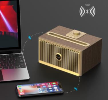 Дизайнерська бездротова акустика OneDer V6 (Bluetooth, MP3, FM, AUX), темне дерево