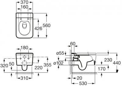 Унітаз підвісний ROCA Inspira Square Rimless A346537000 без сидіння