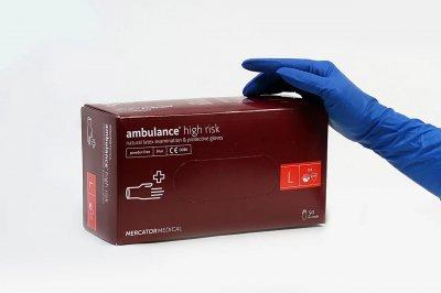 Перчатки Mercator Medical AMBULANCE High Risk обзорные неприпудрени размер L 50 шт (25 пар)