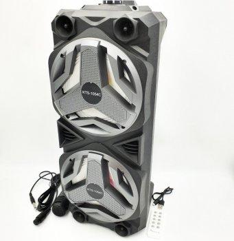 """Портативная колонка аккумуляторная беспроводная Bluetooth караоке акустика 2х6"""" с микрофоном USB FM 2х10 Вт KTS-1054"""