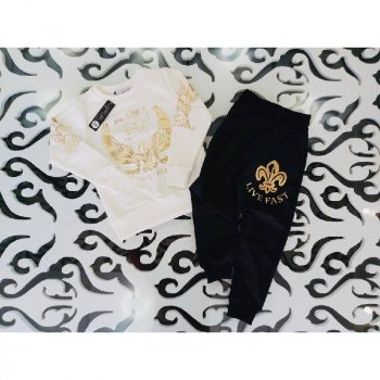 Реглан+брюки для мальчика H.A HA 388 кремовий/чорний (302040)