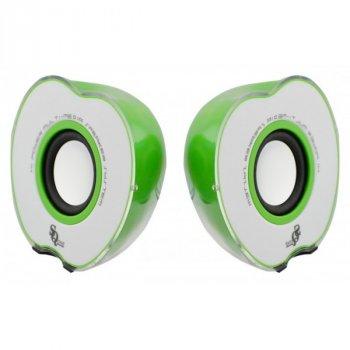 """Колонки """"Яблоко"""" для PC Dellta NP 2.0 USB 128X/028A зеленый"""