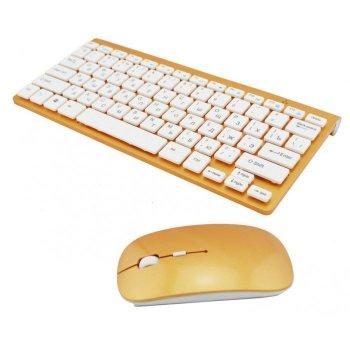 Бездротова російська клавіатура mini і миша keyboard 908 + приймач Золота (44958)
