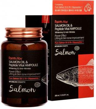Восстанавливающая сыворотка для лица Farmstay Salmon Oil & Peptide Vital Ampoule с лососевым маслом и пептидами 250 мл (8809480772573)