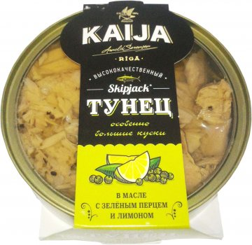 Тунец в масле Kaija с зеленым перцем и лимоном 160 г (4751007735483)