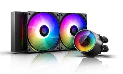 Система водяного охлаждения Deepcool Castle 240 RGB V2, Intel: LGA2066/2011-v3/2011/1151/1150/1155/LGA1366, AMD: TR4/AM4/AM3+/AM3/AM2+/AM2/FM2+/FM2/FM1, 282x120x27 мм, 4-pin