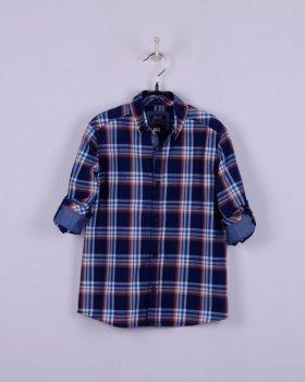 Рубашка BoGi casual Синяя в оранжево-голубую клетку (001.011.0260.03)