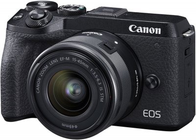 Фотоаппарат Canon EOS M6 Mark II + 15-45 IS STM + EVF Kit Black (3611C053) Официальная гарантия!