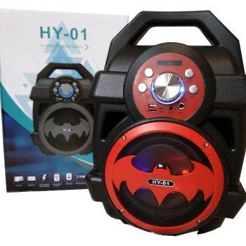 Колонка бумбокс беспроводная Bluetooth акустика портативная Бэтмен HY-01 чёрно-красная