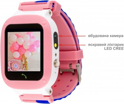 Дитячий смарт-годинник Amigo GO004 Splashproof Camera LED Pink (746404)