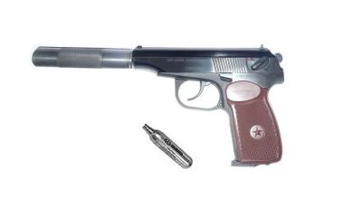 Пневматичний пістолет Байкал МР-654К 28 серія з імітатором глушника + баллончик со2 в подарунок