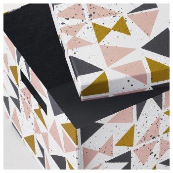 Коробка с крышкой IKEA (ИКЕА) TJENA 25x35x20см белый черный розовый (403.982.15)