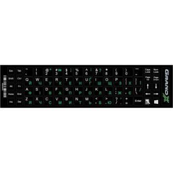 Наклейка на клавиатуру Grand-X 68 keys UA green, Latin white (GXDGUA)