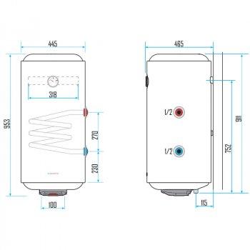 Електричний бойлер комбінований Aquahot 100 л лівий AQHEWHV100EXL25 білий (56180)