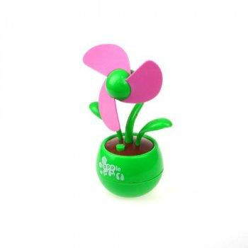 Настольный USB-вентилятор Supretto Цветок зеленый с фиолетовыми лепестками (5157-0001) (2000100018071)